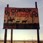 Steve Fitch: Plywood sign near Presidio, TX, March 2, 2006
